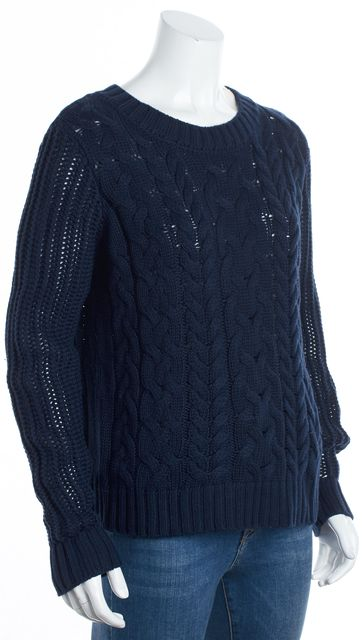 FRAME Navy Blue Wool Cable Knit Crewneck Sweater