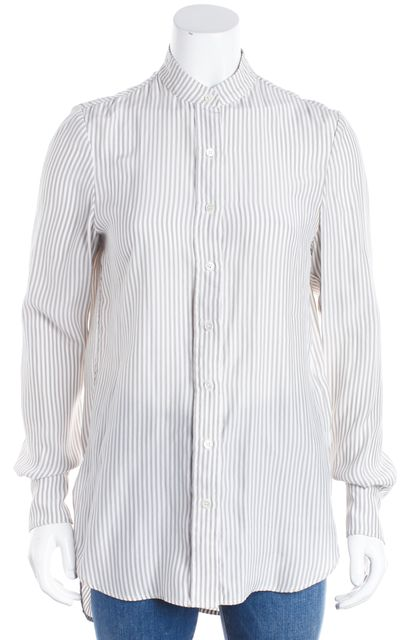 FRAME White Gray Striped Silk Charmeuse Collarless Button Down Blouse Top