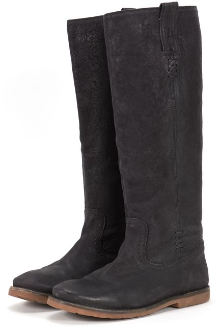 FRYE Black Pebbled Grain Leather Casual Knee-high BootTall Boots