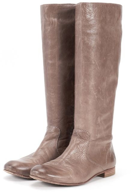 FRYE Gray Leather Mid-Calf Boots Casual Tall Boots