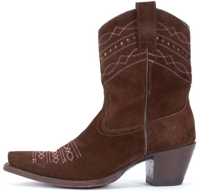FRYE Brown Suede Pink Embroidered Pointed Toe Cow Boy Casual Ankle Boots