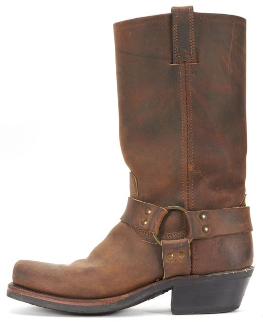FRYE Brown Treated Nubuck Leather Square Toe Cowboy Riding Mid-calf Boots