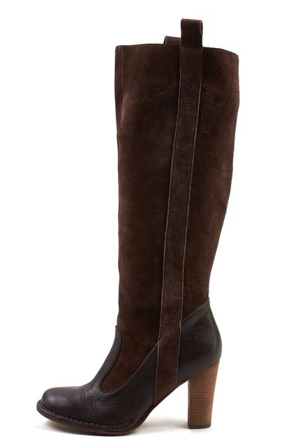 FRYE Brown Suede Villager Pull On Tall Knee-High Boots