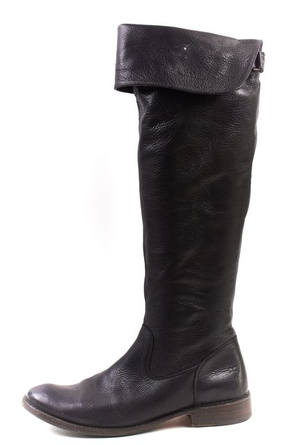 FRYE Black Pebbled Leather Round Toe Knee High Flat Boots