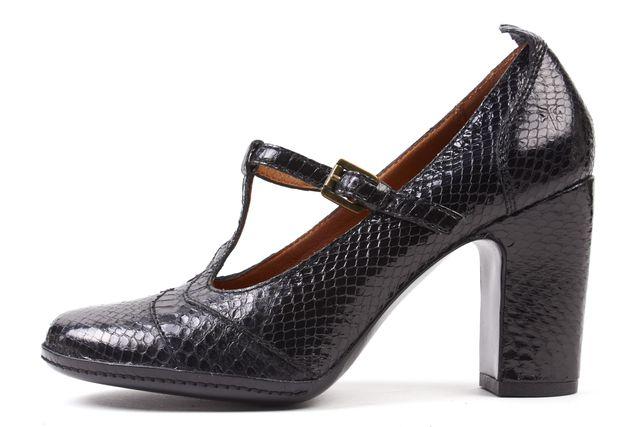 FRYE Black Snake Embossed Leather T-Strap Heels
