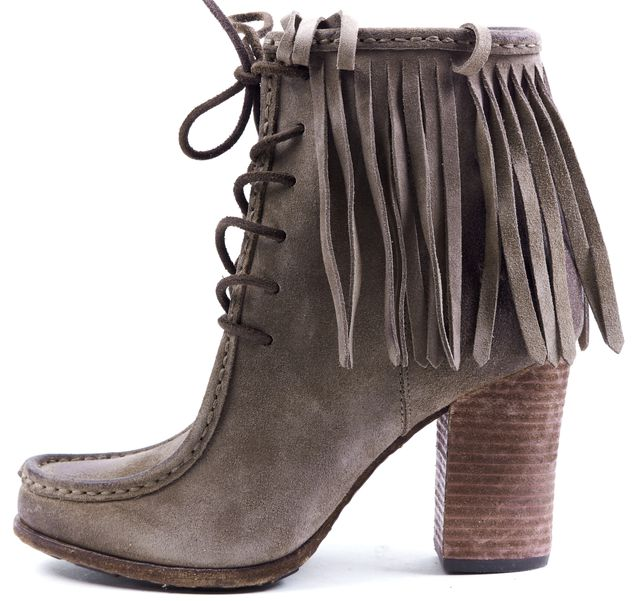 FRYE Gray Treated Suede Fringe Stacked Heel Ankle Boots