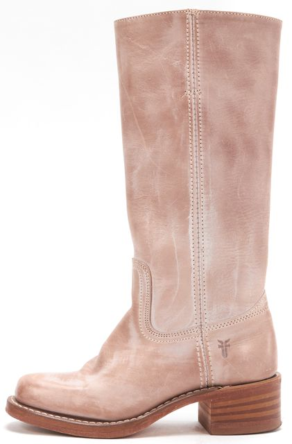FRYE Sand Textured Leather Stacked Heel Mid Calf Boots