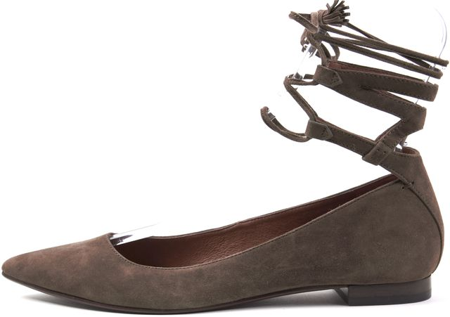 FRYE Brown Taupe Suede Leather Casual Tassel Lace Up Pointed Toe Flats