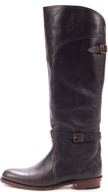 FRYE Brown Leather Round Toe Casual Side Buckle Riding Knee High Boots