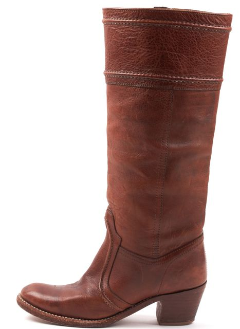 FRYE Brown Leather Knee-high Round Toe Casual Tall Stacked Heel Boots