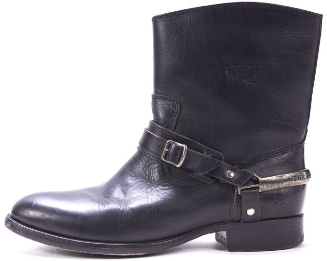 FRYE Black Leather Short Cowboy Ankle Boots