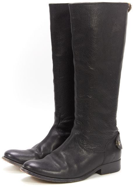 FRYE Black Pebbled Grain Leather Round Toe Zip Back Tall Knee High Boots