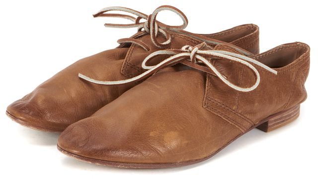 FRYE Brown Leather Jillian Oxford Casual Lace-Up Round Toe Flats