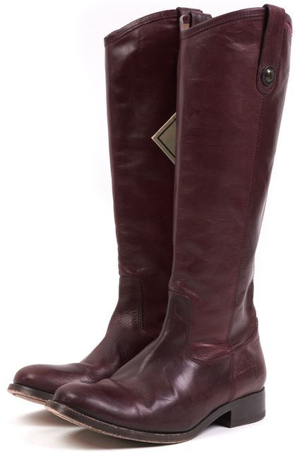 FRYE Red Burgundy Leather Round Toe Knee-high Casual Tall Riding Boots