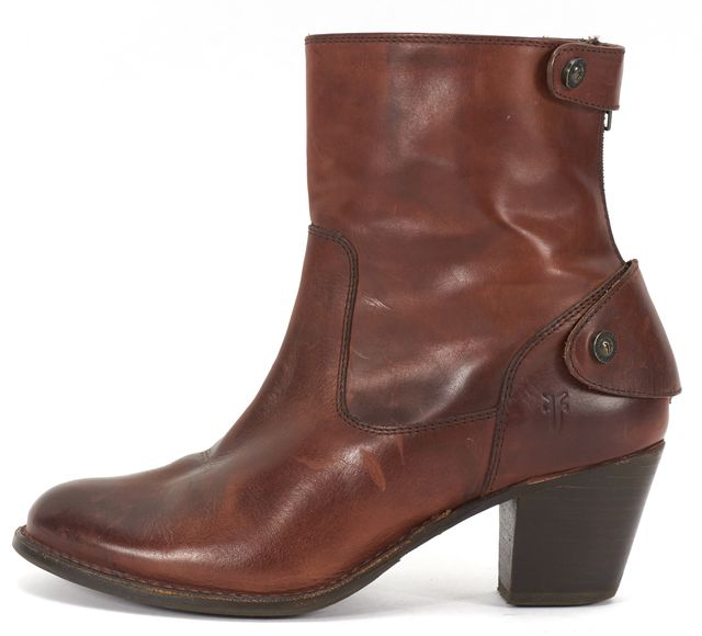 FRYE Brown Distressed Leather Stacked Heel Ankle Boots