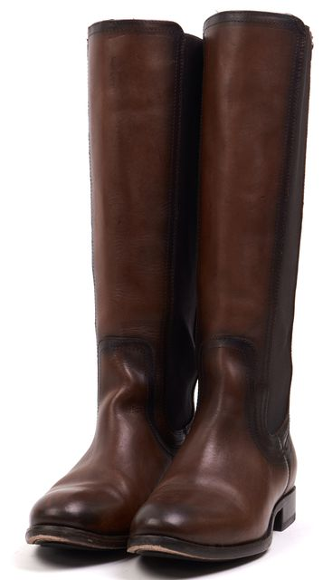 FRYE Brown Leather Casual Round Toe Elastic Side Knee-high Boot Tall Boots