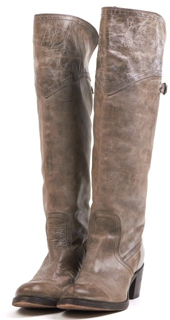FRYE Brown Distressed Leather Round Toe Casual Knee High Heeled Boots