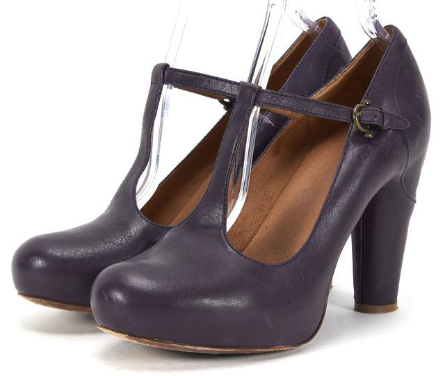 FRYE Navy Blue Leather Casual T-Strap Round Toe Platform Chunky Heels