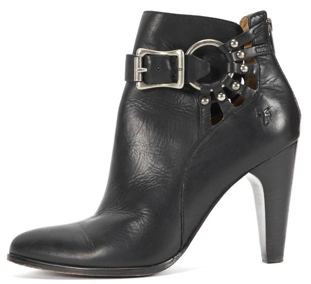 FRYE Black Leather Cutout Silver Buckle Pointed Toe Ankle Boots