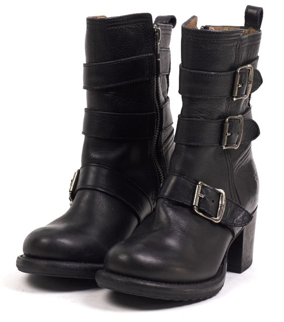 FRYE Black Leather Buckle Strap Stacked Heel Ankle Boots