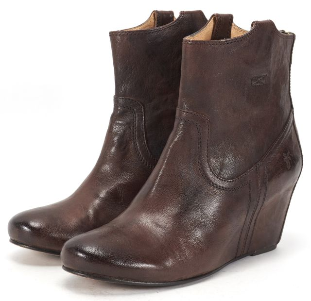 FRYE Brown Leather Carson Concealed Wedge Ankle Boots