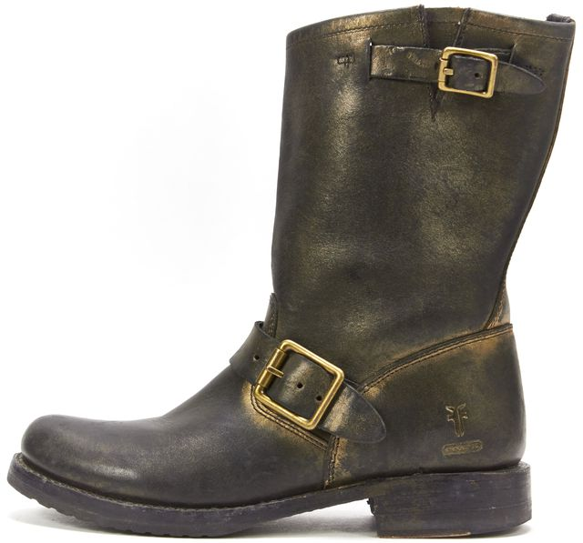 FRYE For Coach Black Gold Leather Buckle Side Moto Ankle Boots