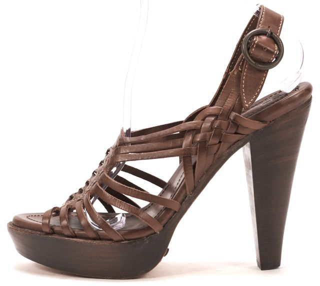 FRYE Brown Leather Buckle Strap Sandal Heels