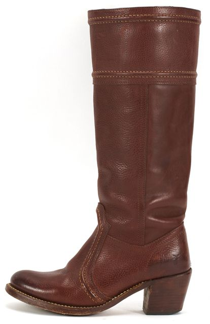 FRYE Brown Leather Round Toe Stacked Heel Tall Boots