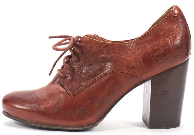 FRYE Brown Leather Block Heeled Carson Oxfords