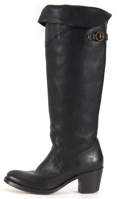 FRYE Black Leather Fold-Over Block Heel Knee-High Boots