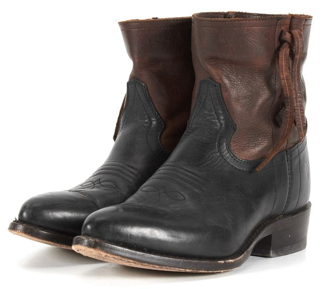 FRYE Black Brown Leather Riding Equestrian Western Pointed Toe Ankle Boots