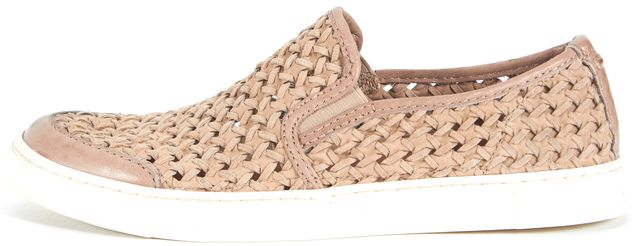 FRYE Beige Woven Leather Gemma Slip-On Sneakers