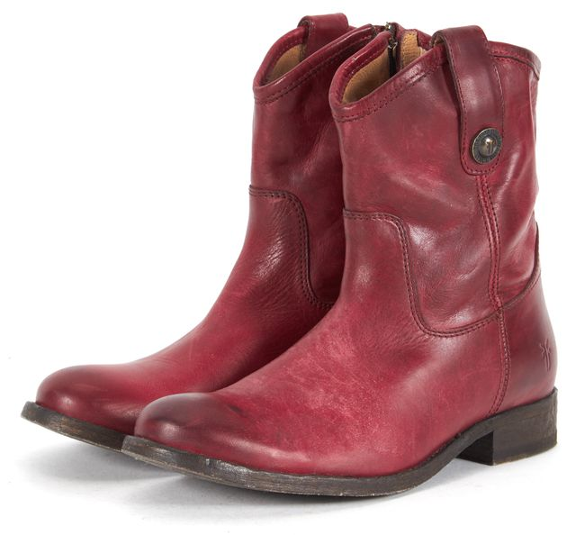FRYE Red Distressed Leather Cowboy Ankle Boots