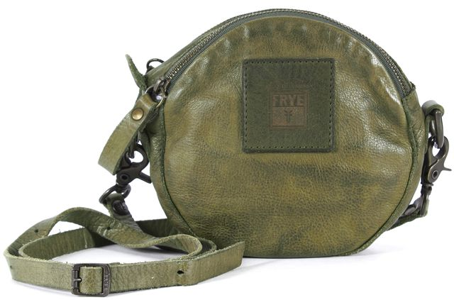 FRYE Distressed Green Leather Round Mini Crossbody Bag