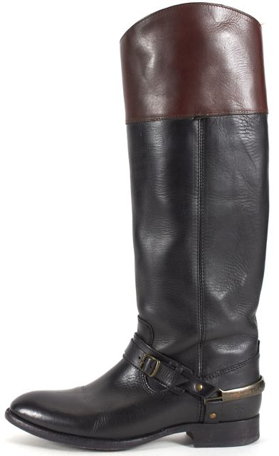 FRYE Black Brown Leather Knee-High Riding Boots