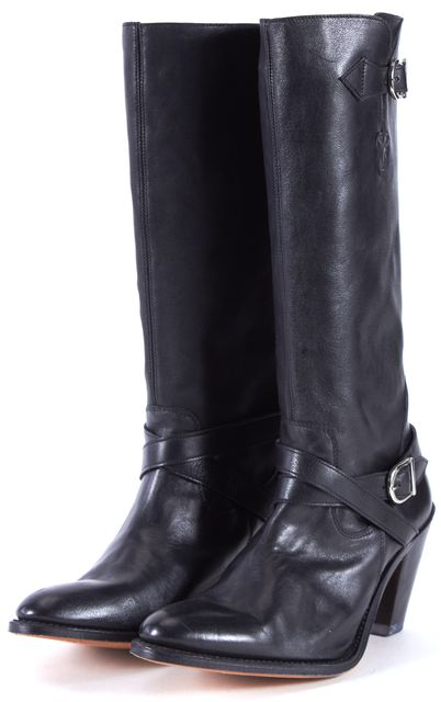 FRYE Black Leather Pointed Toe Heeled Knee-High Boots