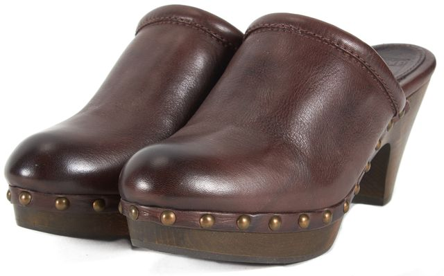 FRYE Brown Leather Audra Button Heeled Clogs