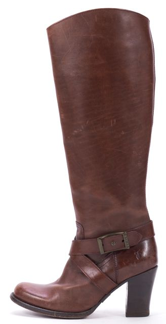 FRYE Brown Leather Heeled Knee-High Boots