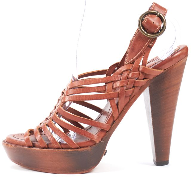 FRYE Cognac Brown Leather Platform Wooden Sandal Heels