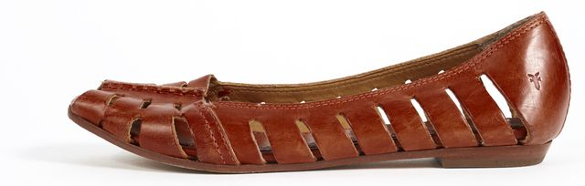 FRYE Burnt Sienna Red Cut-Out Leather Slip-On Peep Toe Flats