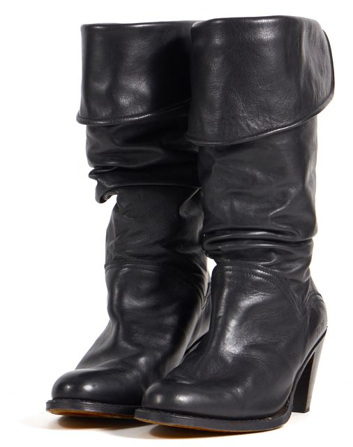FRYE Black Leather Fold Over Slouchy Mid-Calf Boots