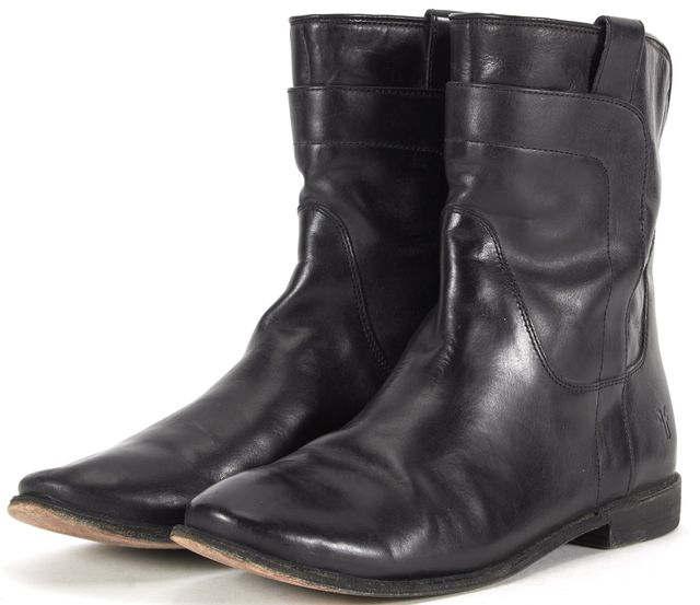 FRYE Black Leather Mid-Calf Boots