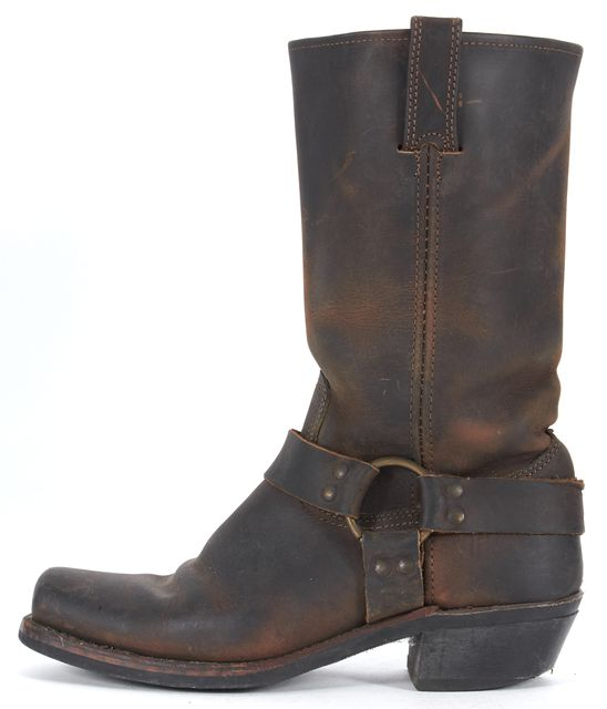 FRYE Brown Distressed Leather Western Mid-Calf Boots