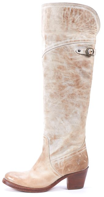FRYE Beige Distressed Leather Block Heeled Knee-High Boots