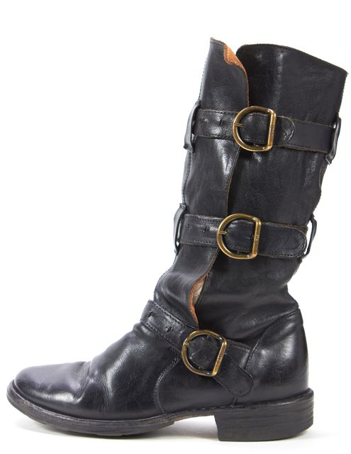 FRYE Black Leather Multi Buckle Mid Calf Boots