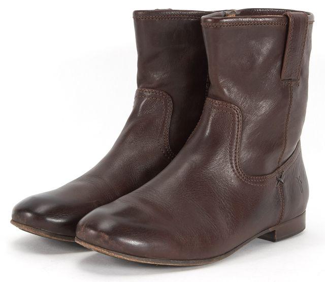 FRYE Brown Leather Jillian Short Zip Flat Ankle Boots