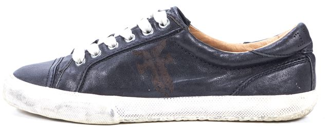 FRYE Black Leather Logo Embossed Lace Up Sneakers