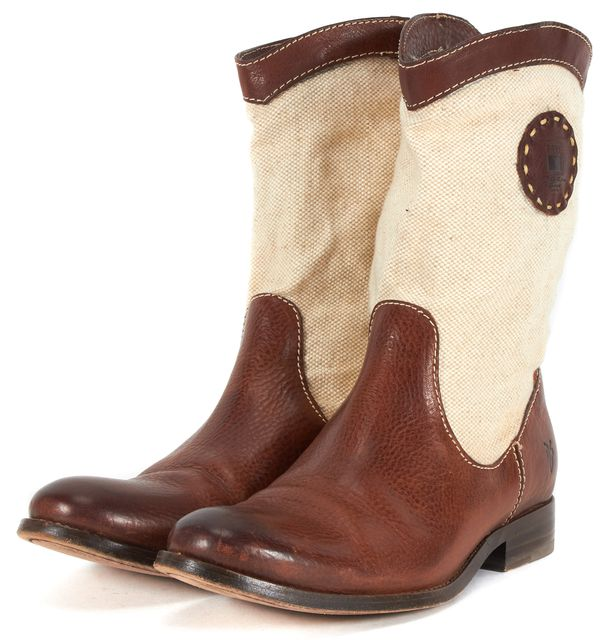 FRYE Brown Leather Beige Canvas Mid-Calf Riding Boots