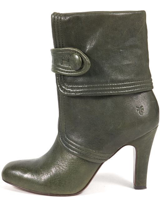 FRYE Hunter Green Leather Ankle Boots