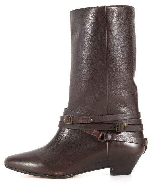 FRYE Dark Brown Leather Sunny Multi-Strap Mid-Calf Boots